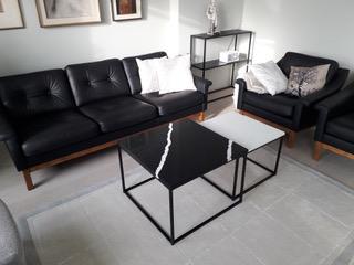 Marmorikuvioitu kvartsitaso Carrara Vein ja Nero Marquina