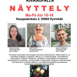 Näyttely Kivikaupalla Ma-Pe klo 10-18.